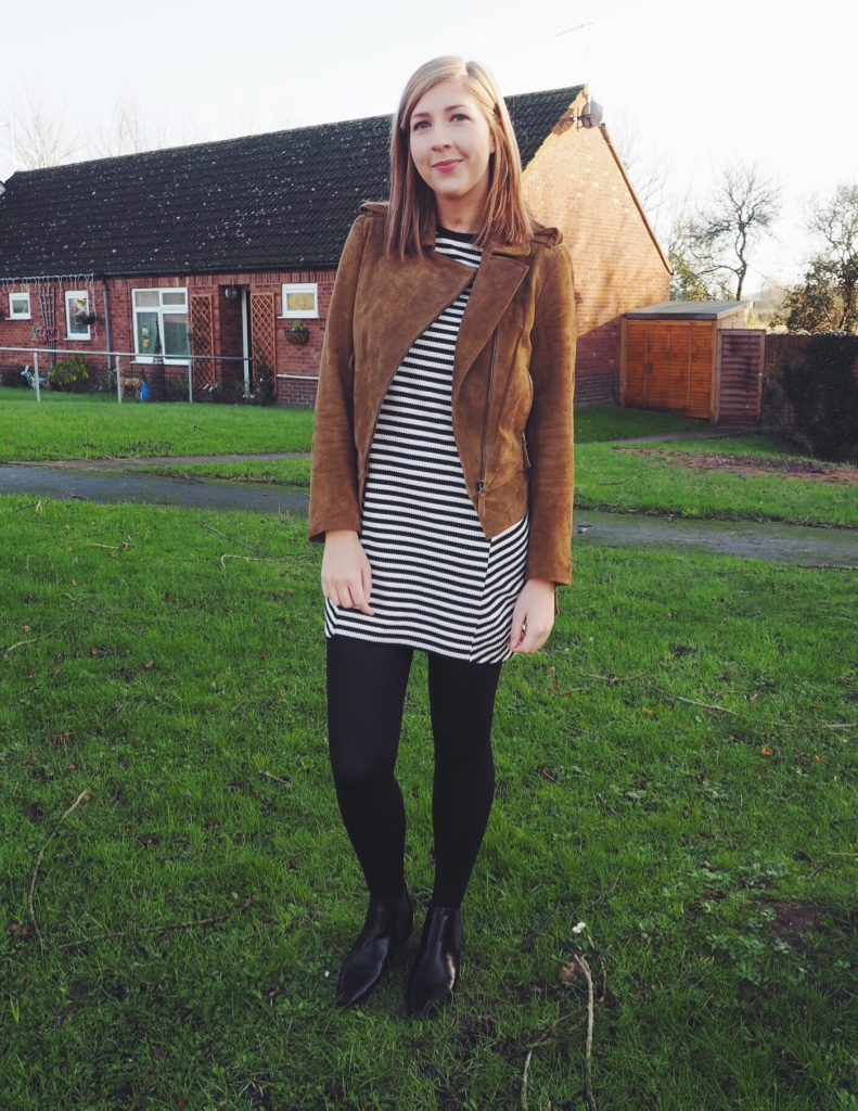 topshop, asos, suedejacket, stripedtunicdress, wiw, whatimwearing, asseenonme, lots, lookodtheday, chelseaboots, fbloggers, fashionpost, outfitpost, fashionbloggers, blackandwhitedress