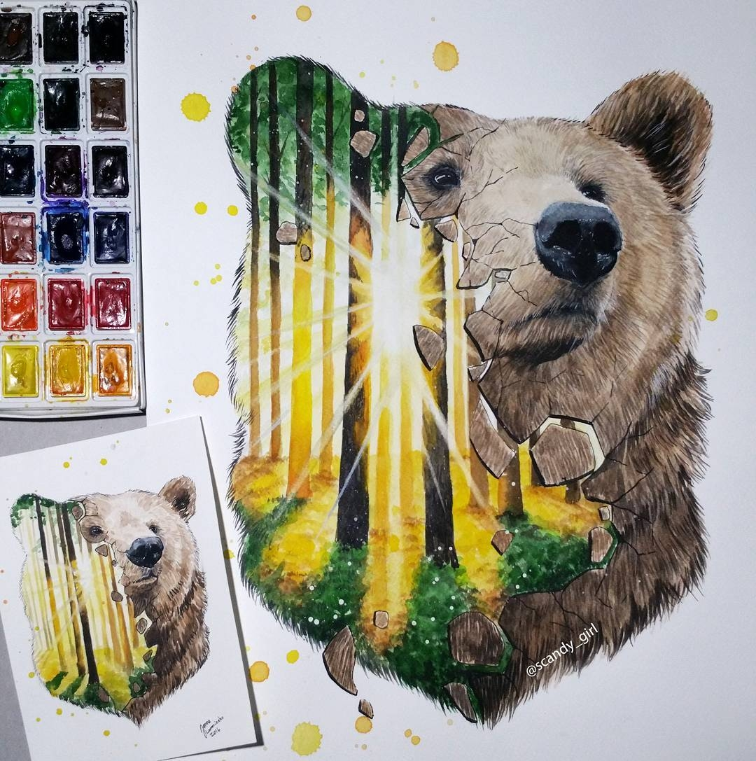 01-Grizzly-Bear-Jonna-Lamminaho-Mixed-Media-Animal-Paintings-www-designstack-co