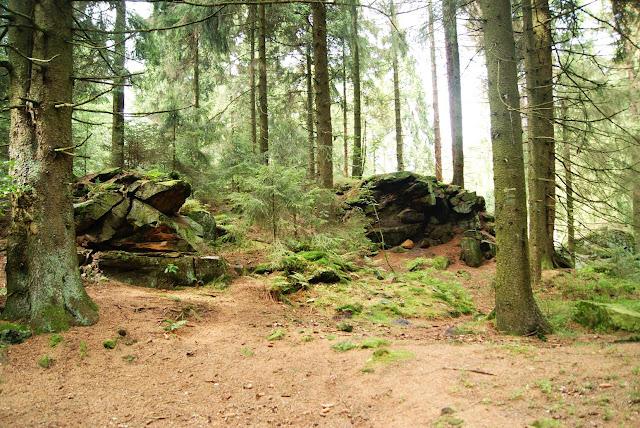 Ein grosser Haufen Steine liegt kurz vor dem Gipfel am Wegesrand
