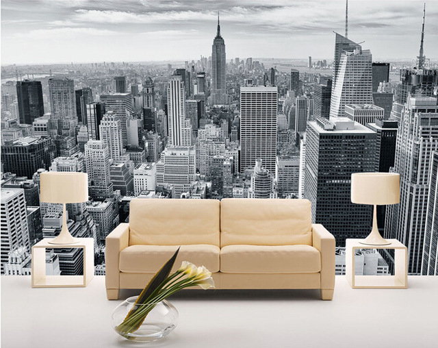 Fototapet New York svart vit skyskrapor manhattan New York tapeter