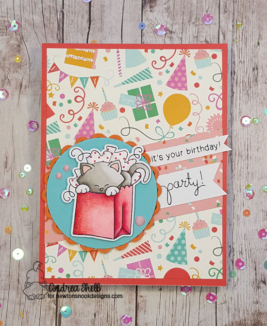 It's Your Birthday Party by Andrea features Newton's Birthday Bash stamp set by Newton's Nook Designs; #newtonsnook