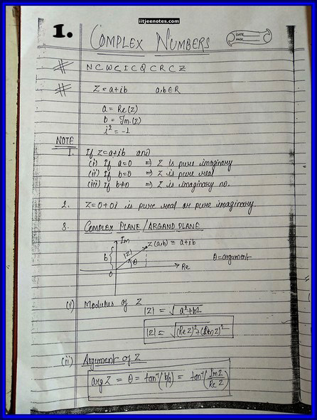 iitjee notes on complex number