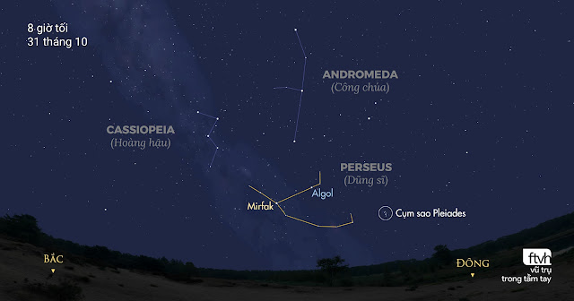 Chòm sao Perseus nằm cao khoảng 25 độ ở bầu trời hướng đông bắc vào 8 giờ tối trong những ngày này. Đồ họa: Stellarium/Chú thích: Ftvh - Vũ trụ trong tầm tay.