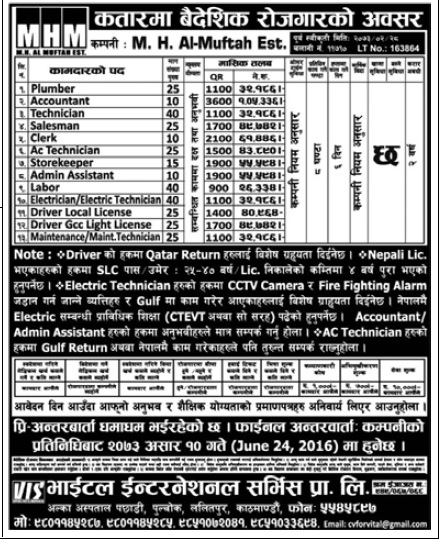 Job Opportunities in Qatar for Nepali Candidates. Salary Up to Rs 1,05,336