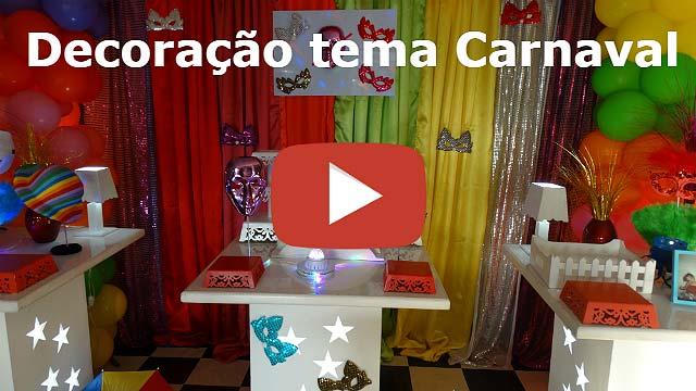 Vídeo - Decoração de aniversário tema Carnaval - Mesa provençal simples