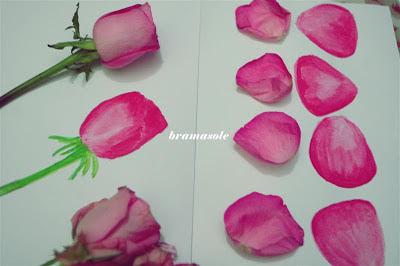 melukis kelopak bunga dengan cat air