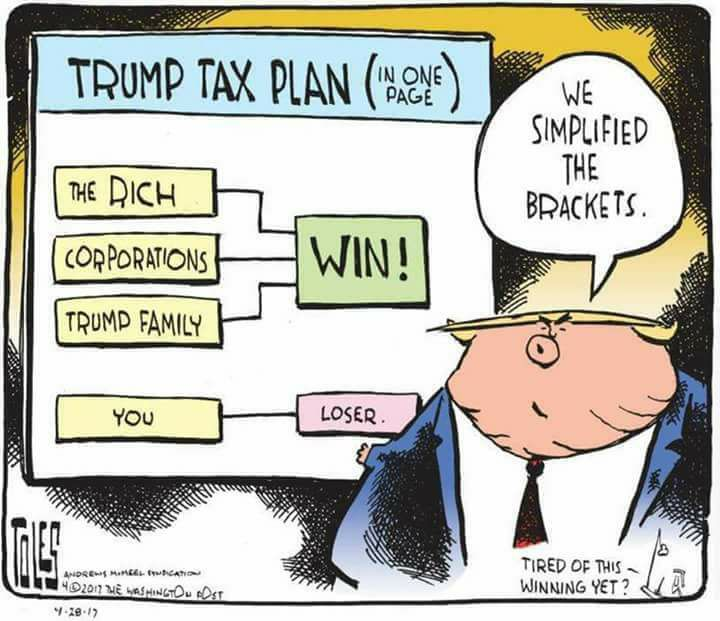 Title:  Trump Tax Plan on One Page.  Image:  NCAA like brackets illustrating Trump Family, the Rich, Corporations all point towards