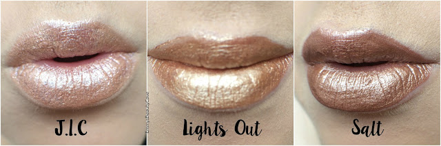 ColourPop Ultra Metallic Lips J.I.C Lights Out Salt Lip Swatches