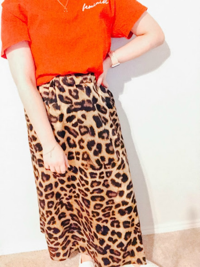 Feminist Graphic Tee And Leopard Skirt