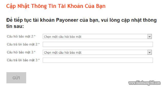Hình 4.5: Payoneer yêu cầu cập nhật thông tin tài khoản với hai câu hỏi bảo mật