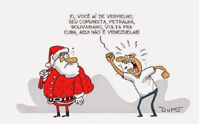 Papai Noel é vermelho, mas só dá presentes aos coxinhas.  O bom terceiro-idosinho (dizer velhinho é preconceito) não gosta de mortadelas!