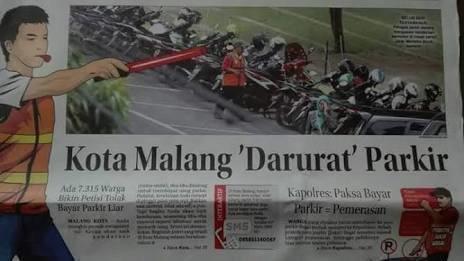 Petisi Mengenai Tolak Bayar Parkir Liar yang diberitakan di Radar Malang (change.org)