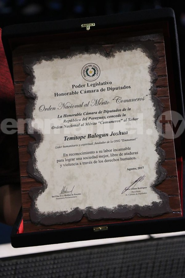 Paraguayan Government presents TB Joshua with Order of Merit
