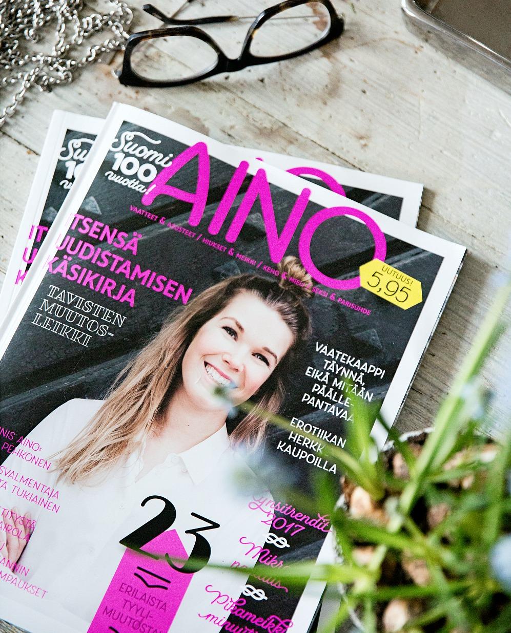 Aino-lehti, naistenlehti, muoti, fashion, julkaisu, uusi lehti, Aino, Suomi 100, muutosleikki