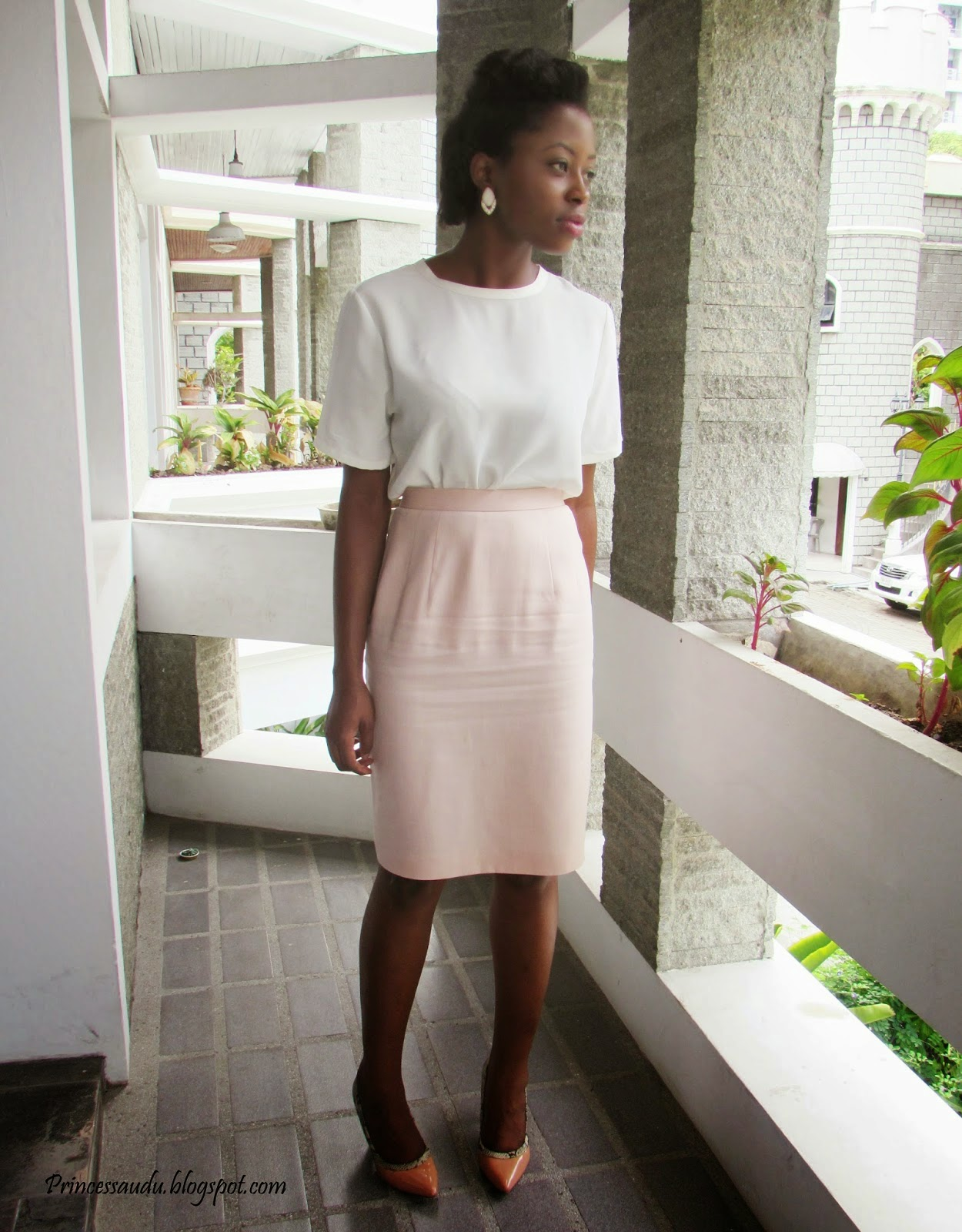 blush skirt, nude pumps