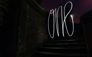 Wallpaper: Long Exposure. Stairs. Light Writing. Photoshop