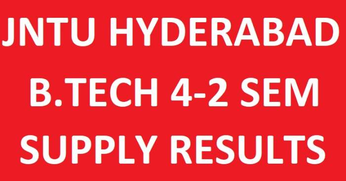 JNTUH B.Tech 4-2 Sem Supply Exam Results, JNTUH 4-2 Result
