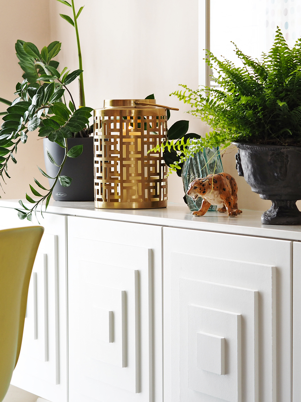 My Summer Dining Room - French For Pineapple Blog - Side board with stepped panelled doors, with brass deco style lantern and plants