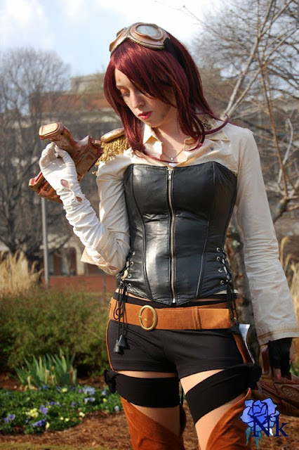 steampunk (women's clothing, goggles, gun, corset, gloves)