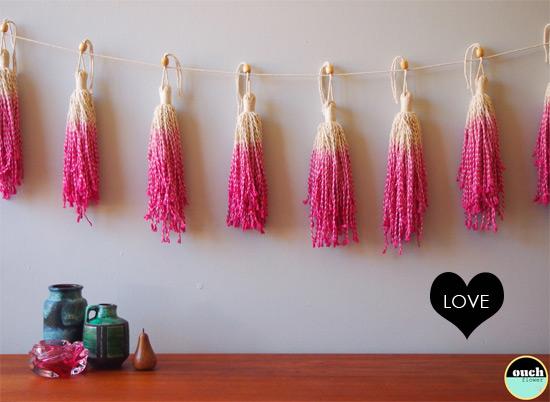 Bondville Ouch Flower Dip Dyed Tassel Garland Room Decor