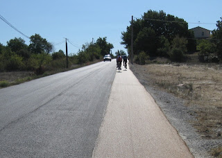 Smooth bicycle lane on a road outside Aix-en-Provence, France