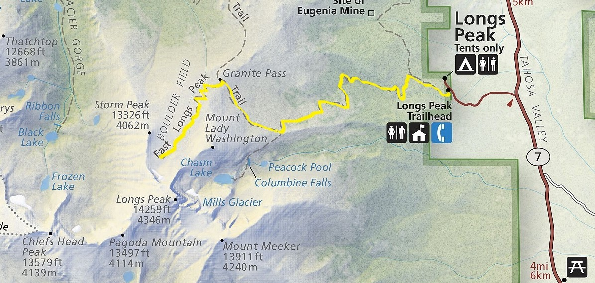 Day Hiking Trails: Trail heads to summit of 14er Longs Peak