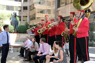 City workers entertained at Devonshire Square  Credit: © City of London Festival / Robert Piwko
