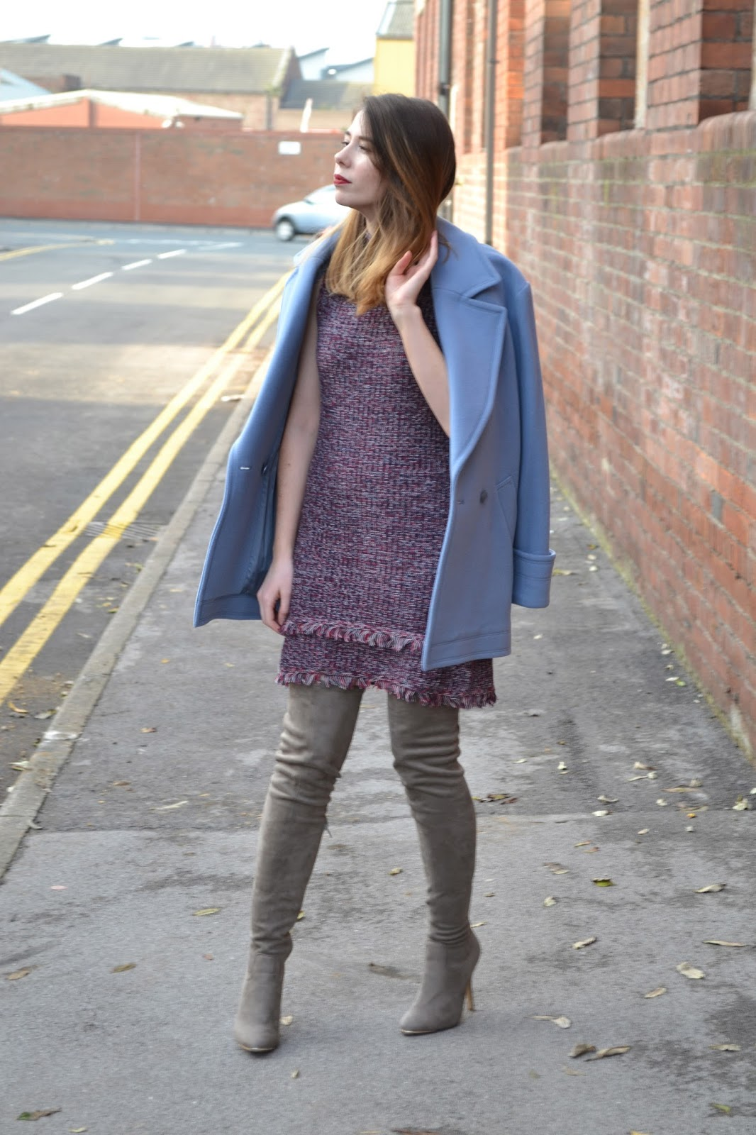 womens affordable highstreet fashion blog featuring British street style. Topshop knitted high neck jumper dress in chanel style. Thigh high grey suede boots from Matalan. Pastel blue double breasted jacket from Reiss. Holliescloset