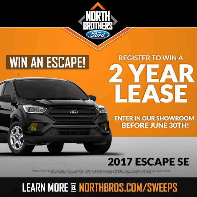 Win a 2-Year 2017 Ford Escape Lease from North Brothers Ford