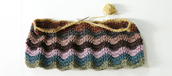 Progress Knitting Ripple Top in Feather and Fan Stitch