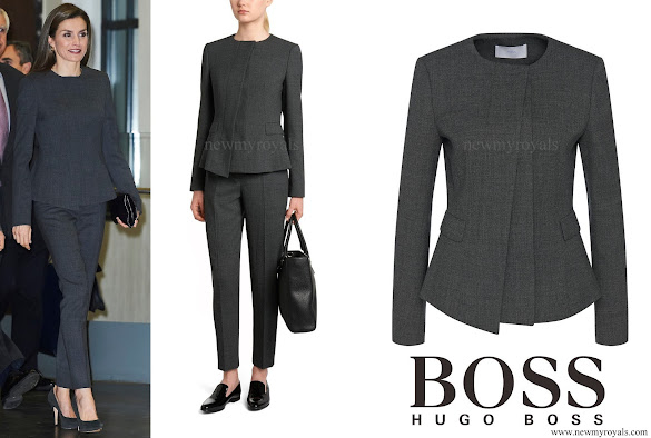 Queen-Letizia wore HUGO BOSS jadela stretch virgin wool asymmetrical blazer