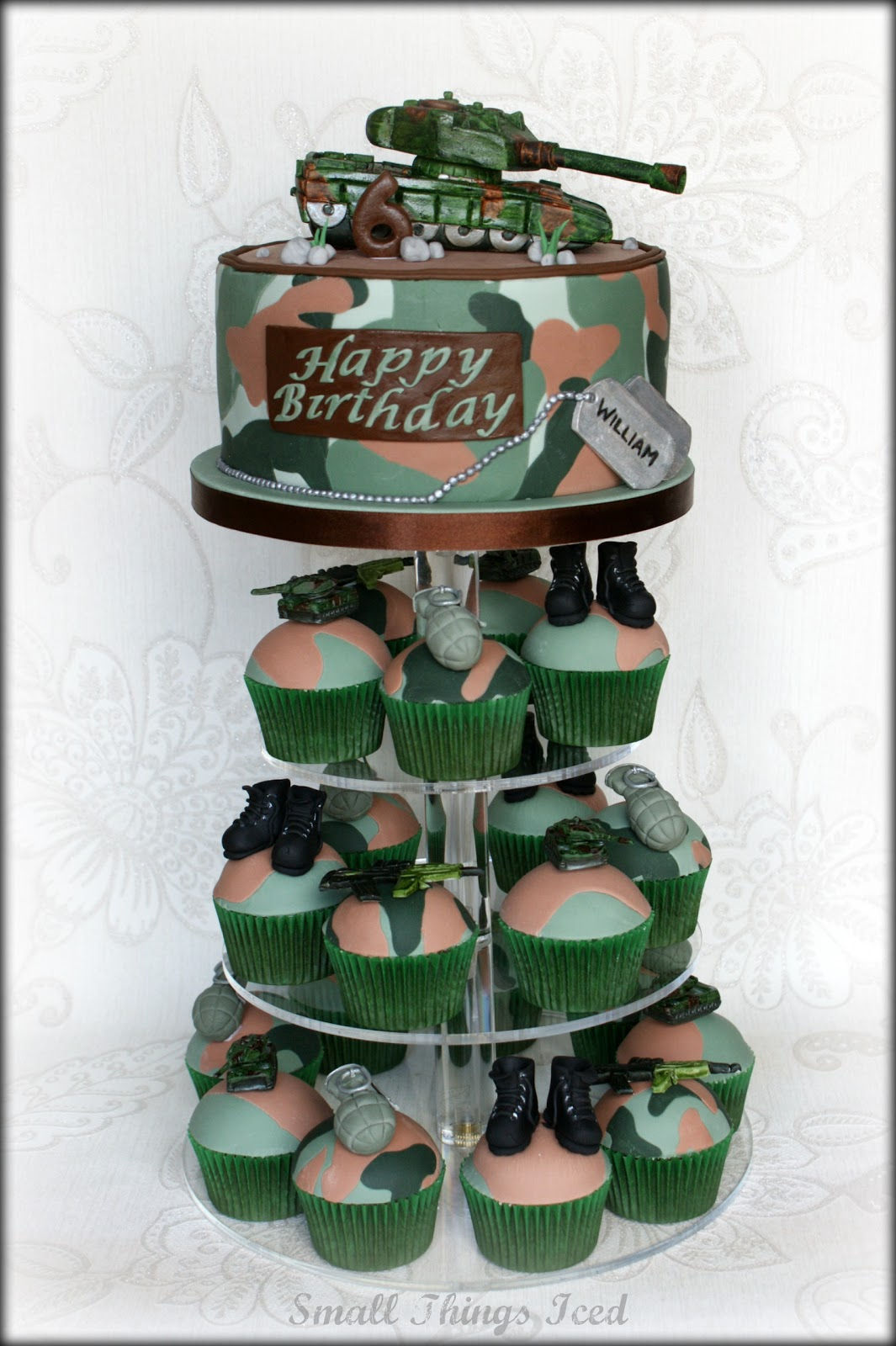 Small Things Iced Army Theme Birthday Tower