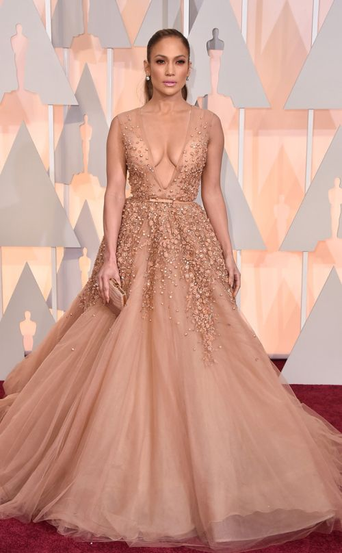 Jennifer Lopez in Elie Saab at the Academy Awards 2015