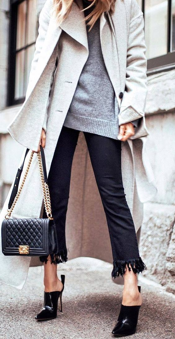 what to wear with a nude coat : grey sweater + scarf + bag + heels + black pants