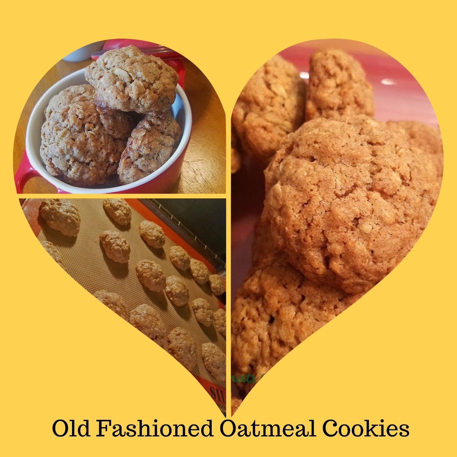 A collage of old fashioned oatmeal cookies in a heart shape with bird design coffee cup and a cookie sheet of oatmeal cookies cooling
