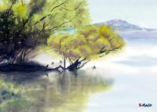 watercolor. Tree on the lake. finished.  水彩画 湖上の木 完成