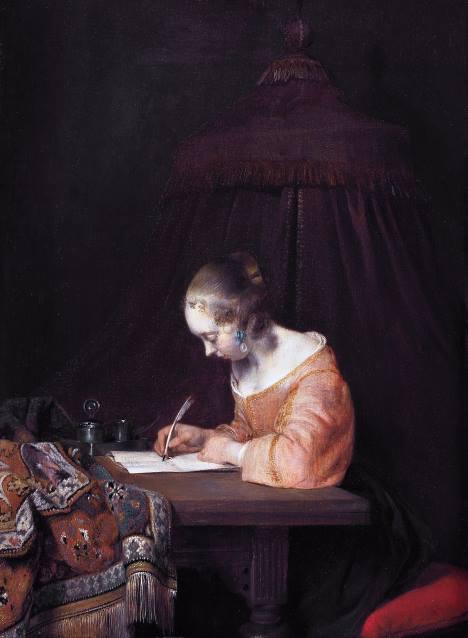 Mulher Escrevendo uma Carta, pintura de Gerard Ter Borch.