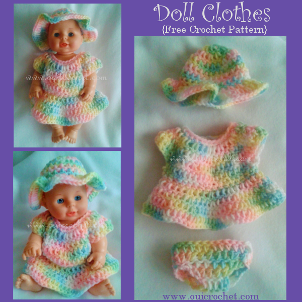 #OuiCrochet, Crochet, Free Crochet Pattern, Crochet Toys, Crochet Doll Clothes, Crochet Doll Dress, Crochet Doll Hat, Crochet Doll Diaper,