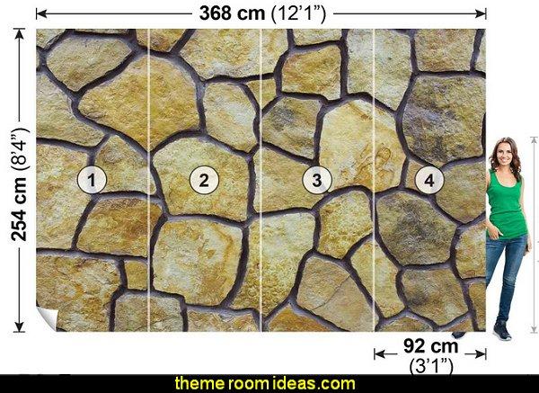 Beige Stone Mosaic Wallpaper Mural