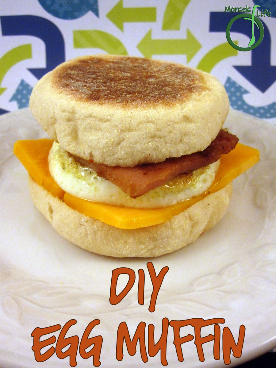 Morsels of Life - DIY Egg McMuffin - Layer some cheese, a griddle fried egg, and some ham between some toasted English muffins to make your own Egg McMuffin.