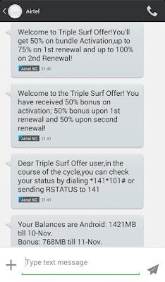 Airtel Triple Surf Offer Free Data Bonus