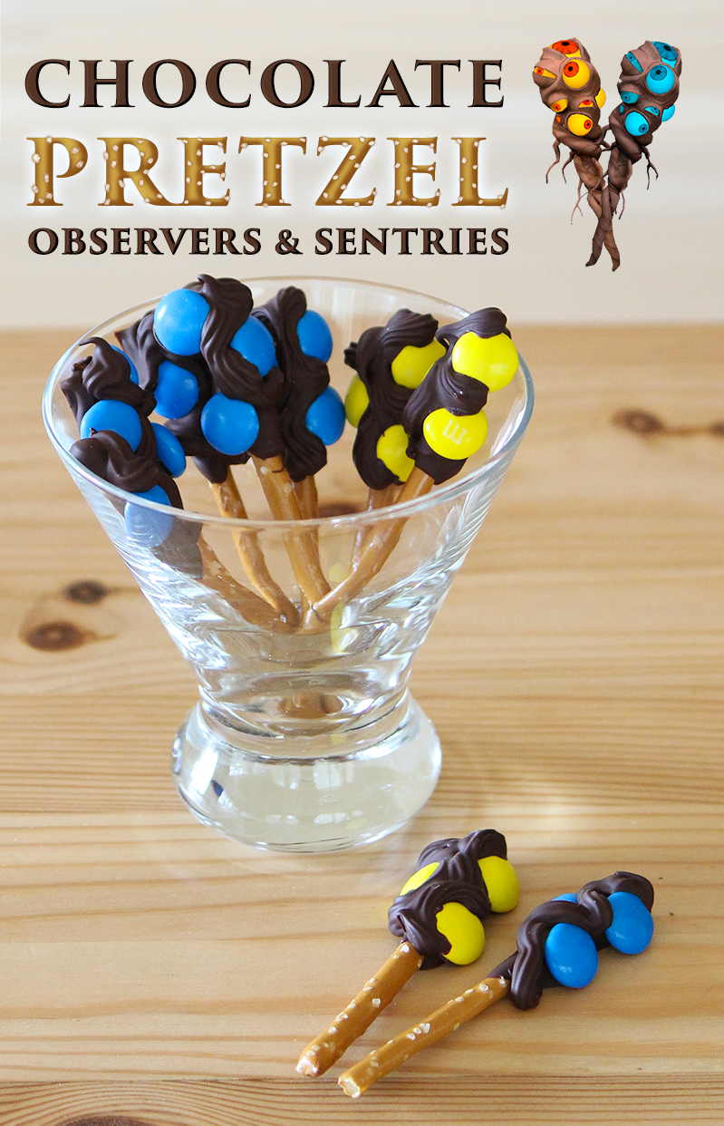 Dota 2 observer wards and sentry wards made from chocolate, pretzels and candy-coated chocolate M&Ms. Cute cupcake toppers, or great alone for a videogame-themed snack.