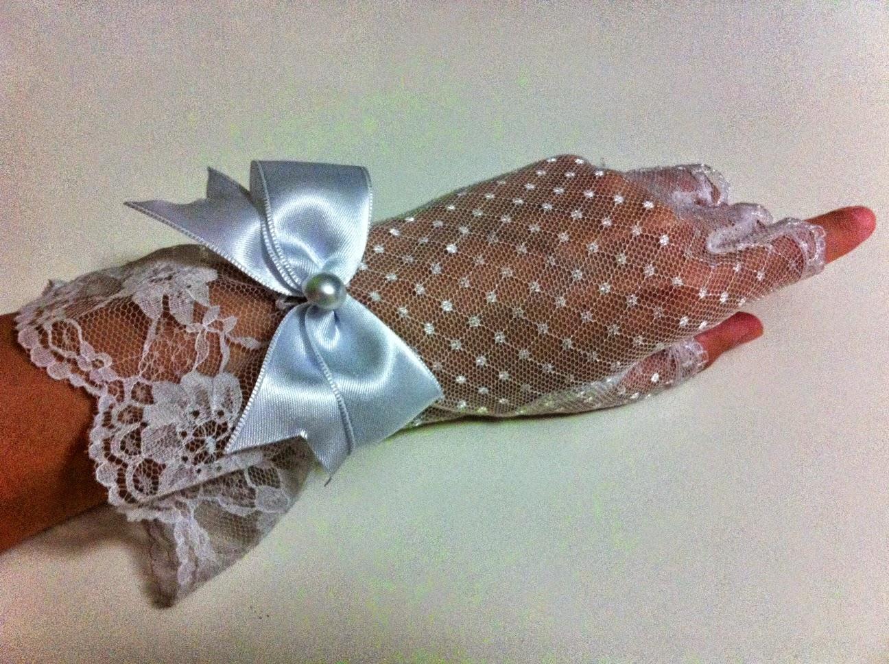 beyaz puantiyeli tül eldiven satın al nikah eldiveni