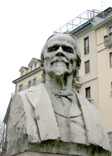 The bust of Andrea Verga in Largo Francesco Richini in Milan