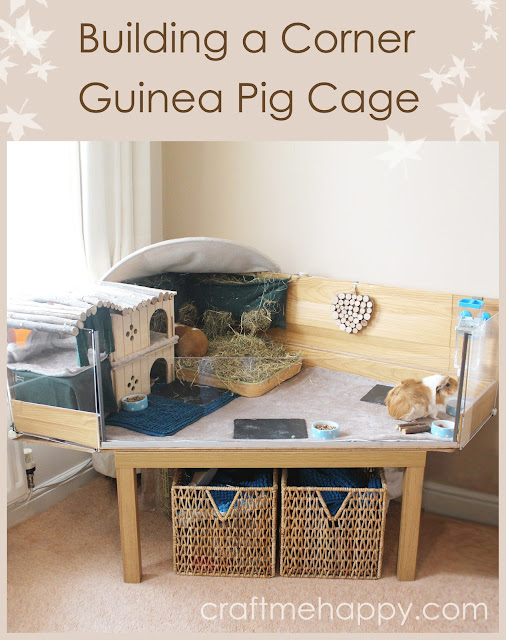 Building a corner diy c and c style guinea pig cage with a for Diy guinea pig hutch