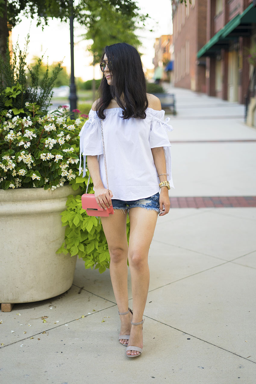 off the shoulder tie sleeve blouse, off the shoulder white bow blouse, denim shorts, steve madden carrson block heel sandals, westward leaning flower sunglasses