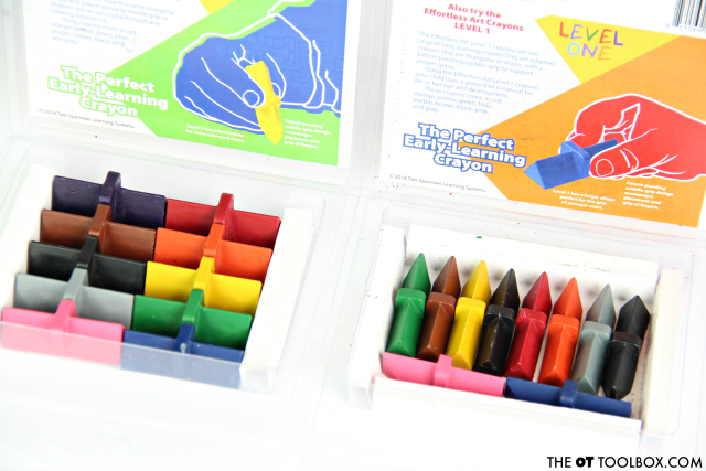 Effortless Art crayons are adapted grasp crayons to help kids learn to hold a crayon while improving the skills they need for pencil grasp and coloring..
