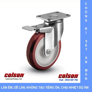 Bánh xe inox có khóa vật liệu bánh xe nhựa PU | 2-5456-944-BRK4, bánh xe PU