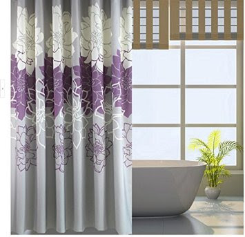 printed flora purple and grey curtains