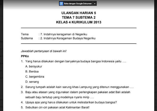 Soal Ulangan Harian K13 Kelas 4 Tema 7 Subtema 2